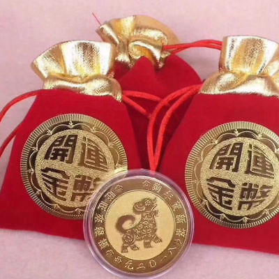 Chinese Zodiac Dog Year gold plated coins+Bags New Year lucky CoinFengshui 2018