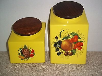 VTG Hyalyn Mid-Century USA Yellow 2 Piece Ceramic Canisters Peach Pineapple L/S