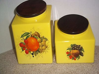 VTG Hyalyn Mid-Century USA Yellow 2 Piece Ceramic Canisters Orange/Apple L/S