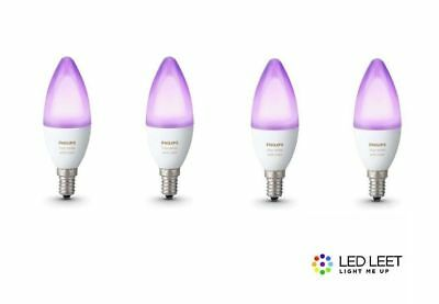4 x Philips Hue Candle Color and White Ambiance 16mio Colour E14 6W Candle Bulb