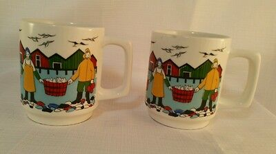 Two rear Torkskefiske hand painted silkscreen gerd-design made in F/F Norway mug