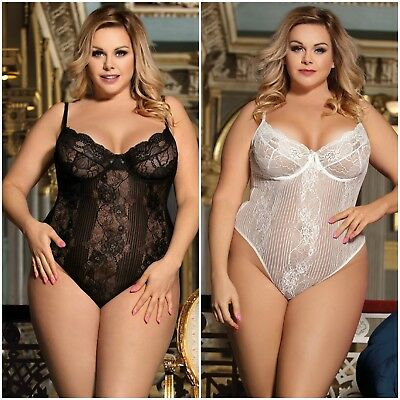 AU Sexy Women's New Plus Size Lace Mesh Underwired Bra Teddy Lingerie Sz m-5XL
