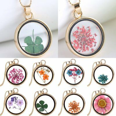 Four Leaf Clover Natural Real Dried Flower Round Glass Pendant Necklace Jewelry