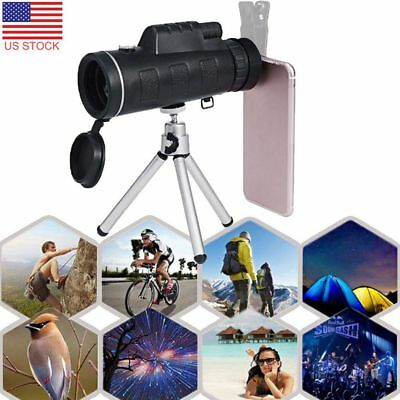 40X60 Camping Hiking Fishing Zoom Monocular Telescope with Compass Clip Tripod