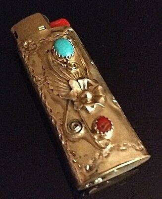 Native American Navajo Signed Mini Turquoise & Coral Case / Cover JM