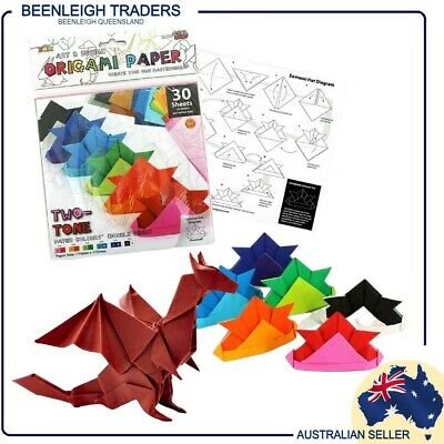 Origami Paper - 30 Double Sided & Two Tone Multi Colour Sheet Pack - Brand New