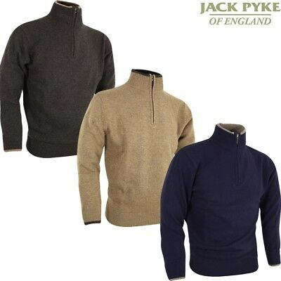Jack Pyke Ashcombe 100% Lambswool Zip Knit Pullover Jumper Mens S-3Xl Shooting