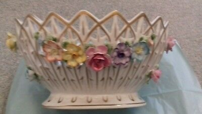 Dresden oval flower decorated bowl