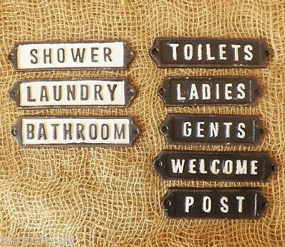 Vintage Victorian Black White CAST IRON Sign Metal Toilet Laundry Welcome Plaque