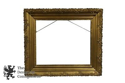 "23"" Antique Victorian Gilt Wood Gold Picture Frame Floral French Design Mirror"