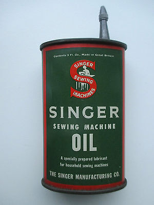 Antique SINGER SEWING MACHINE OIL Tin Bottle made in Great Britain