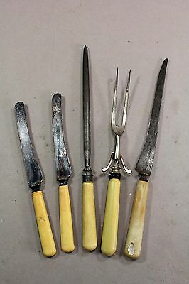 Set of Antique Celloid Handled Cutlery Lot 5 pc. Knives Sharpener + Mixed Lot