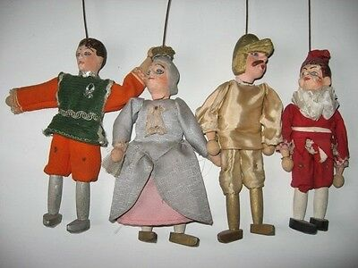 4 Antique french FOLK ART hand painted chalk ware marionette puppets Punch