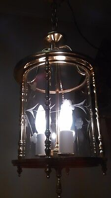 Vintage Etched Glass Traditional Brass Electric Antique Entrance Lantern Light