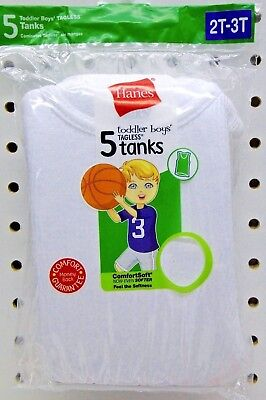 5 Toddler Boys Hanes White Cotton Tanks  Sizes 2T-3T  - New in package
