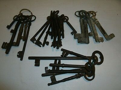 Antique Collectables - Set Of Five Bunches Of Original Victorian Keys