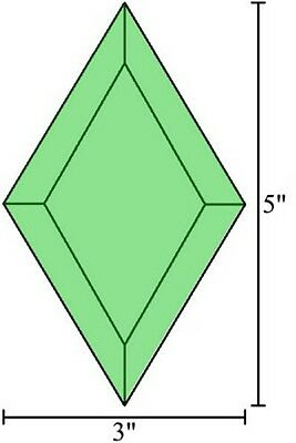 3x5 Diamond Stained Glass Bevels - Box of 30 - GREEN