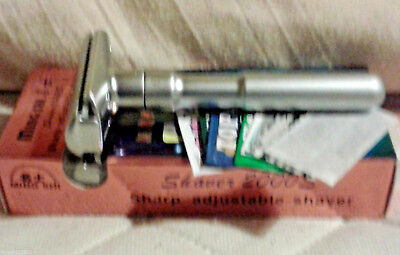 Merkur Futur Copy Ming-Shi Adjustable Razor & 15 Blade Sample Pack(Uk Seller)