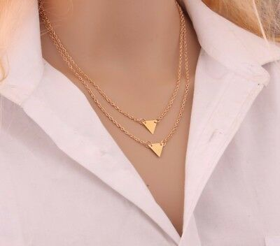 Trendy Fashion Women Double layer Gold Toned Chain  Pendant Triangles Necklace