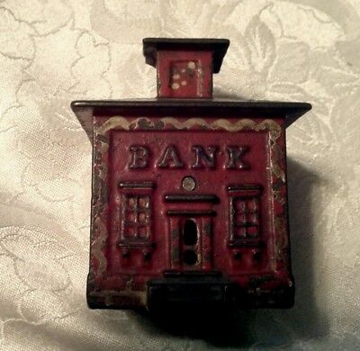 Early Cast Iron Red Painted Still Bank With Cupola