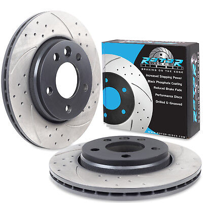 REAR DRILLED GROOVED 294mm BRAKE DISCS PAIR FOR VW TRANSPORTER T5 2.5 TDI