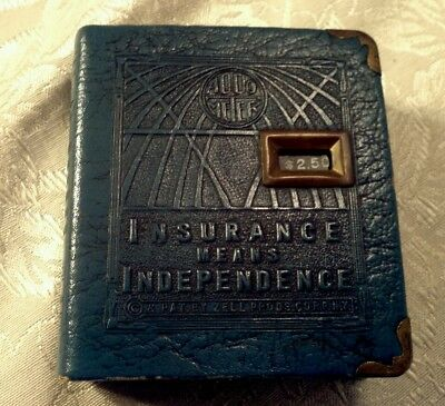 """Vintage Coin Bank ADDO METER """"Insurance Means Independence"""" W/Key Zell"""