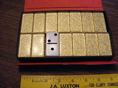 Vintage Two Color White Gold Flake Back Dominoes