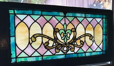 Victorian stained glass fleur de lis stained glass window