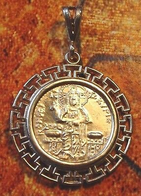 Christ Enthroned Solid .999+ Silver Greek Key Medallion Byzantine icon pendant
