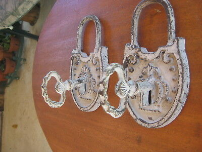 2 Cast Iron Vintage Wall Hook Hall Tree Picture Plant Holders Antique White