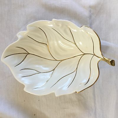 Vintage White/Gold Carlton Ware Leaf Dishe 8.5 inch approx  ex cond