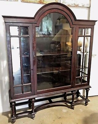 Antique Mahogany Hutch Glass Front Curio Display Cupboard Dining room cupboard