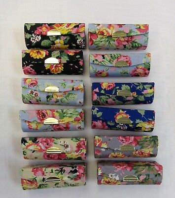 Wholesale 12 Lipstick Holder Cases With Mirror Floral Print Assorted Colors  New