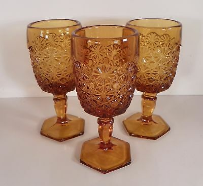 Smith Glass DAISY AND BUTTON Hex Foot Goblet (s) LOT OF 3 Amber