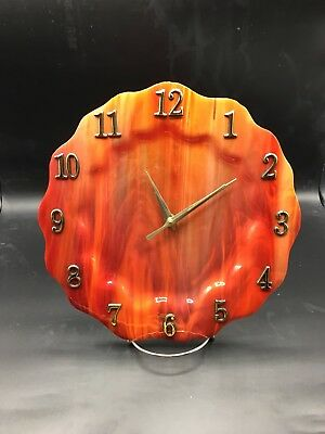 Gorgeous Swirling Firey Red Streaked Stained Glass Dinner Plate Size Clock !