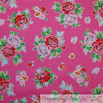 BonEful Fabric FQ Cotton Quilt VTG Pink Red Rose Flower Strawberry Girl Garden S