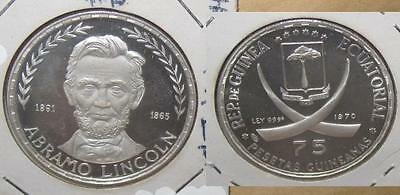 1970 Equatorial Guinea Lincoln 75 Ps Proof Silver Coin
