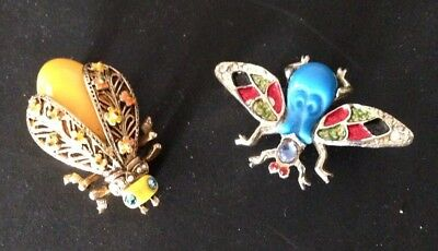 Vintage Lot Of 2 Bug Insect Enamel Rhinestone Pins Brooches Signed ART (c)