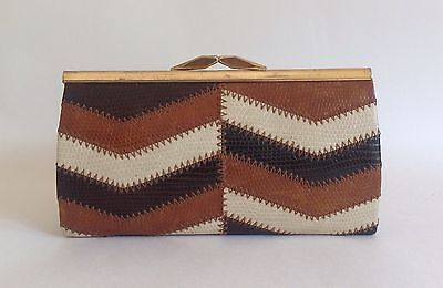 Vintage 1950s  Multi Brown Cream Lizard Embossed Leather Coin Purse Elbief Frame