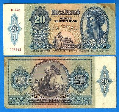 Hungary P-109 200 Pengo Year 1941 Circulated Banknote Europe