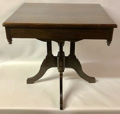 ANTIQUE c1910 VICTORIAN SOLID WALNUT WOOD PRIMITIVE ORNATE ENTRY PARLOR TABLE