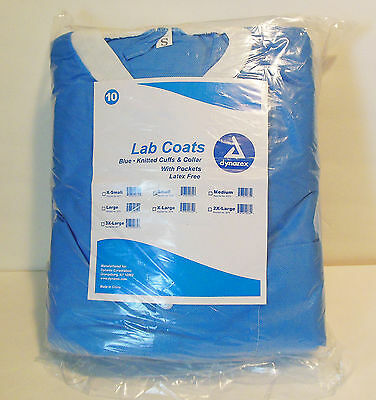 Dynarex Disposable Lab Coat Jacket 3 Pockets Blue Sz S 10ct Painters & Art Smock