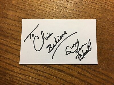 Suzy Favor Hamilton Signed Index Card Track & Field Olympian Olympic Escort