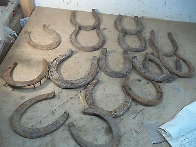 Box of 16  Old Rusty Dirty Horseshoes as found on Kansas Prairies