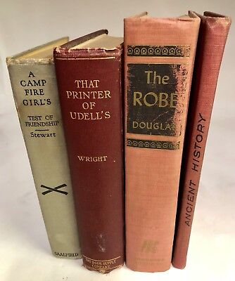 ANTIQUE LOT OF 4 HARDBACK BOOKS c1900 THE ROBE CAMP FIRE GIRLS ANCIENT HISTORY +