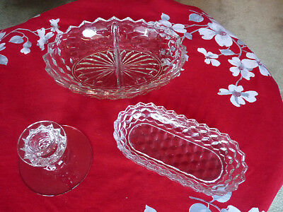 Fostoria American Glass LOT of 3 Relish Celery Bowl, Divided Bowl, Candle Holder