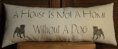 Stenciled Pillow House Is Not Home Without A Dog Black Pug Muslin Handmade