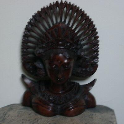 Beautiful Lady Bust Carved By A Master Carver 27X19 Cm. Wide In Ebany Asian Wood