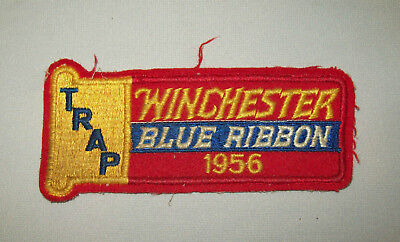 Great old vtg 1950s Winchester Blue Ribbon 1956 Trap Shooting Patch very scrace