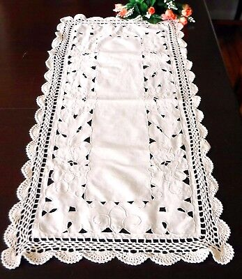 """Beige Embroidered Table Runner Cut Work Ecru Lace Cotton  34x14"""""""